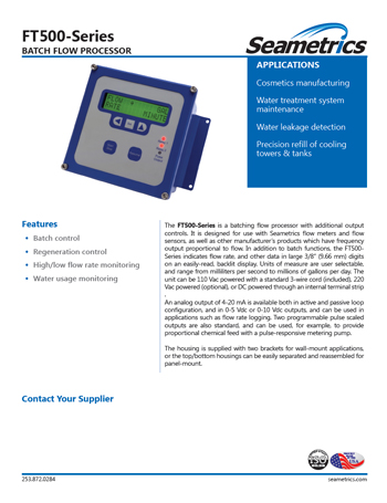Seametrics FT500 Industrial Food Beverage Solution